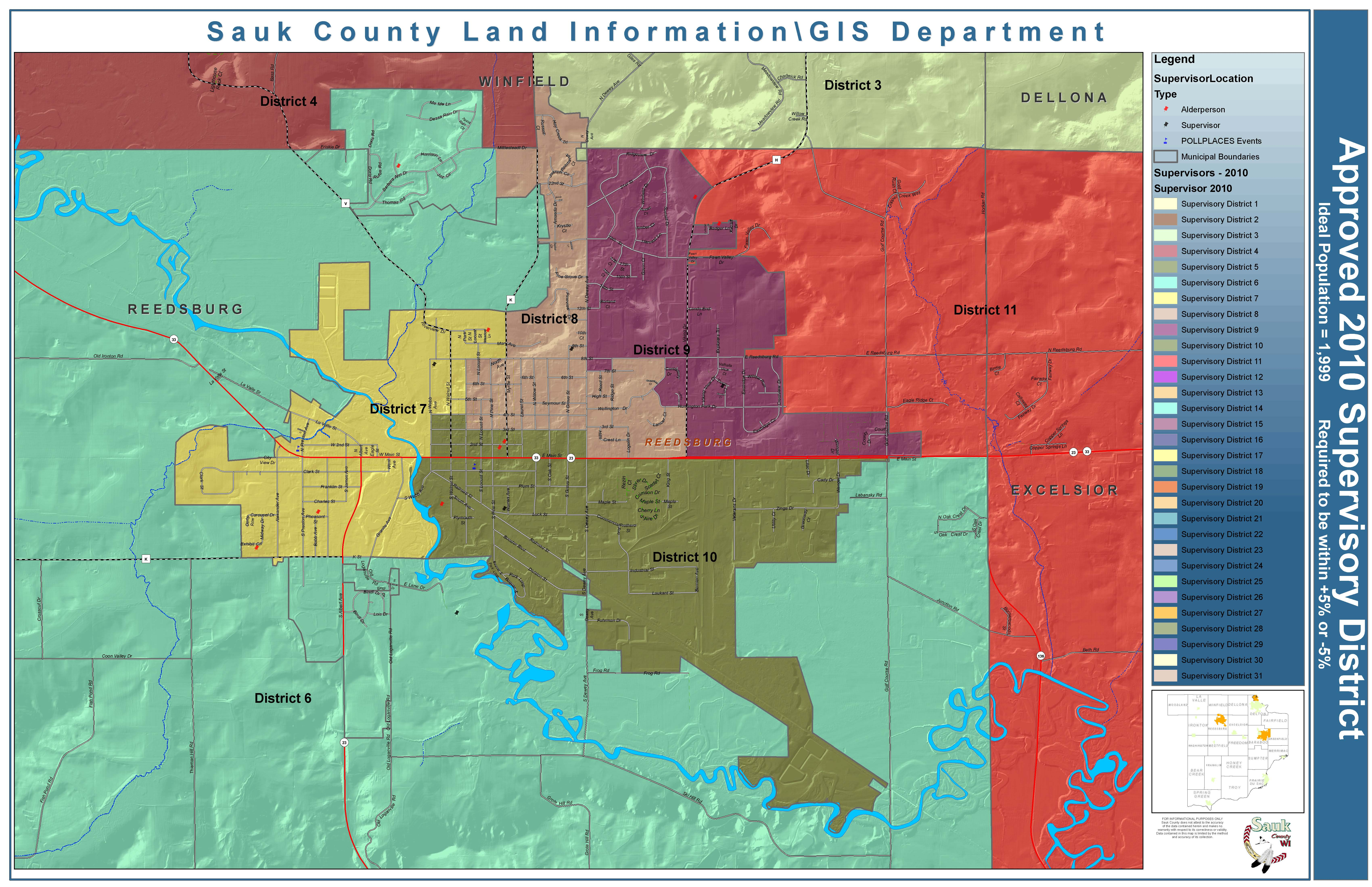 County Supervisory Districts Sauk County Wisconsin Official Website - Detailed map of wisconsin